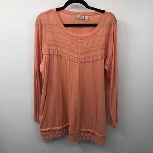 LOGO by Lori Goldstein Cotton Lace Trim Tunic Top